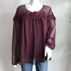 Lauren Conrad Blouse Size XL Purple Lace Sheer